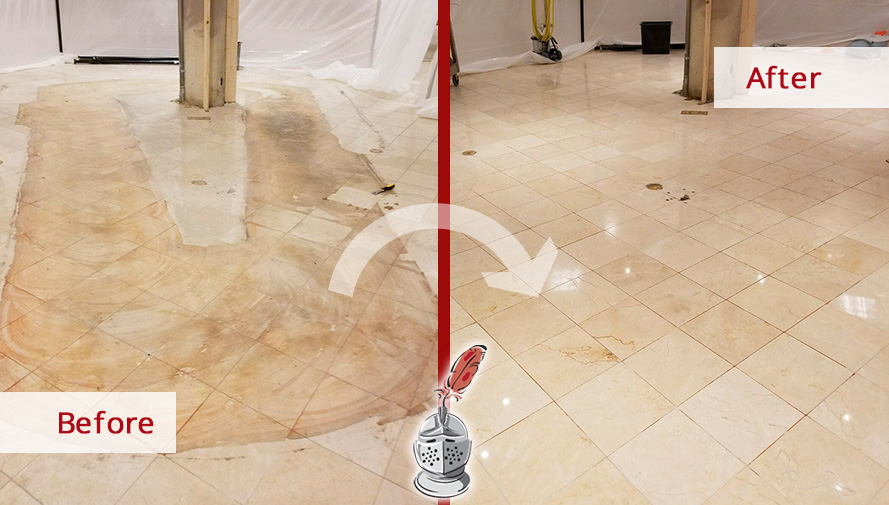 Before and after Picture of This Floor after a Stone Honing Service in Chicago, IL