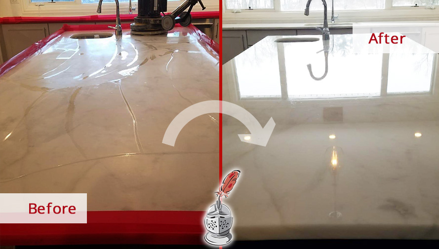 Before and after Picture of This Marble Countertop after a Stone Polishing Job in Chicago, IL
