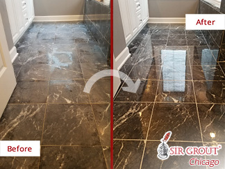 Before and after Picture of a Stone Polishing Job in Chicago, IL