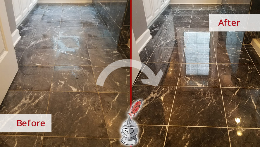 Before and after Picture of This Marble Floor after a Stone Polishing Job in Chicago, IL