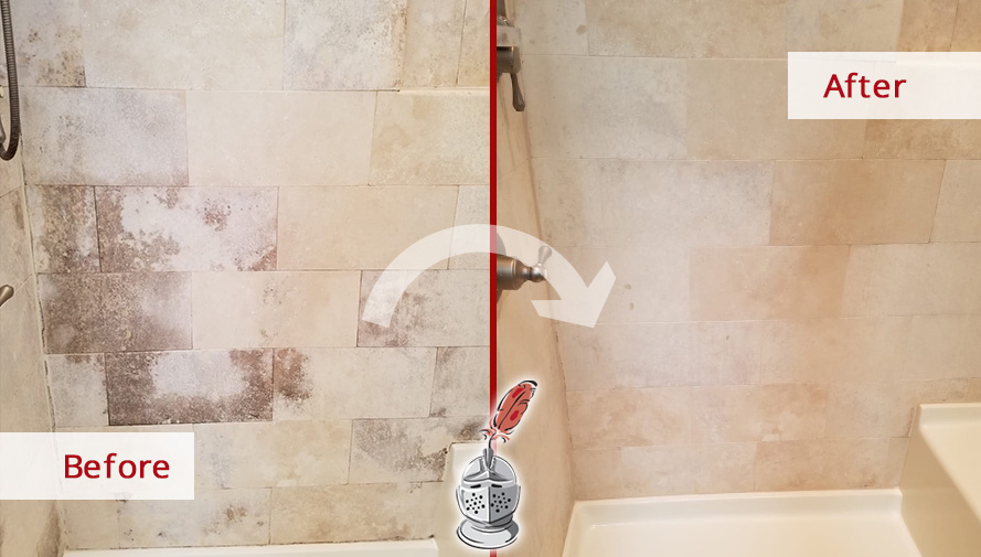 Before and after Picture of This Limestone Shower after a Stone Cleaning Job in Chicago, IL
