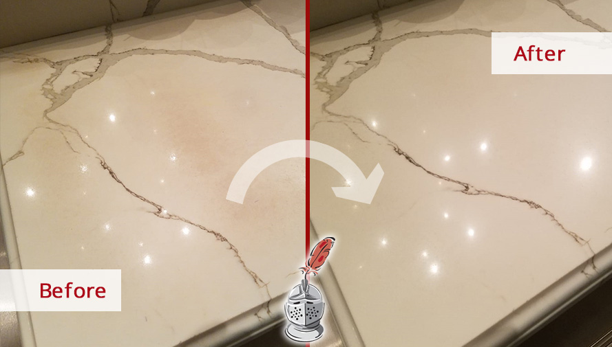 Quartz Countertop Before and After a Stone Polishing Job in Chicago, IL