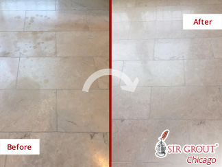 Before and After Picture of a Stone Cleaning Service in Chicago, IL
