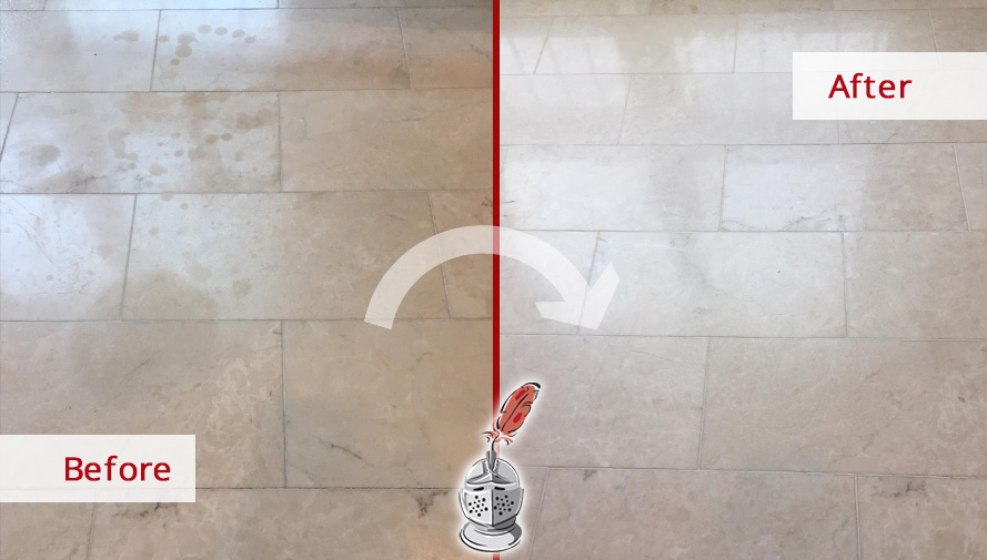 Marble Floor Before and After a Stone Cleaning Service in Chicago, IL