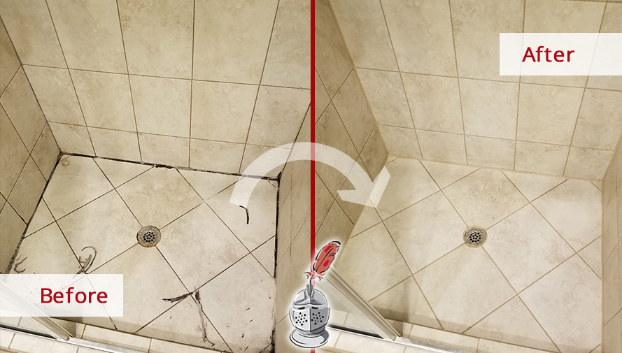 Before and After Picture of  Shower Grout Cleaning Service in Chicago,IL
