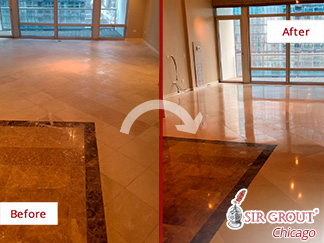 Before and After Picture of a Stone Cleaning Service in Chicago, IL.