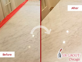 Before and After Picture of Stone Polishing in Chicago, IL.