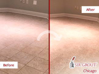 Before and After Picture of a Floor After a Tile Sealing in La Grande, IL