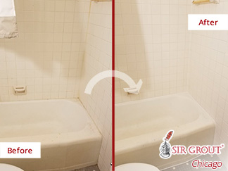 Before and After Picture of Shower After a Caulking Service in Chicago,IL