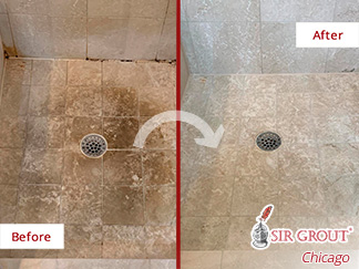 Image of a Shower Floor Before and After a Tile Sealing in Oak Park, IL