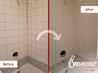 Picture of a Tiled Shower Before and After a Tile Sealing in Avondale, IL