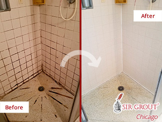 Picture of a Damaged Shower Before and After Our Grout Cleaning in Chicago, IL