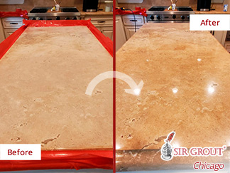 Picture of a Travertine Kitchen Island Before and After a Stone Honing in Uptown, IL