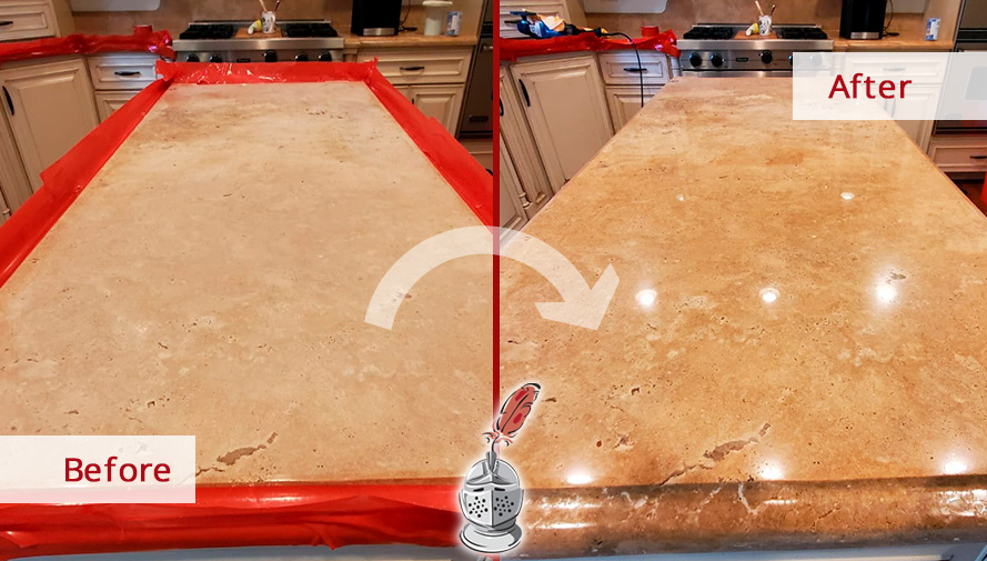 Image of a Travertine Kitchen Island Before and After a Stone Honing in Uptown, IL