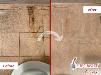 Image of a Damaged Travertine Bathroom After a Professional Stone Cleaning in Chicago
