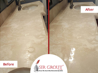 Before and After Picture of aTravertine Vanity Top in Chicago that Regained Its Former Glow after a Stone Polishing