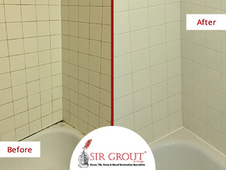 Before and After Picture of a Grout Cleaning Service in Chicago