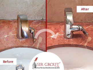 Before and After Picture of a Red Marble Countertop Stone Sealing Serice