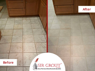 Before and After Picture of a Grout Cleaning Project for Property Managers in Chicago