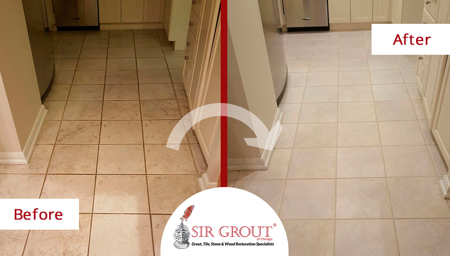 Before and After Picture of a Kitchen Floor Grout Cleaning Project for Property Managers in Chicago
