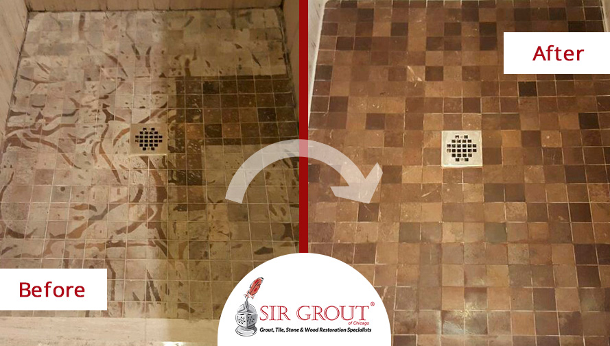 Before and After Picture of a Stone Polishing Service on a Limestone Shower Floor Damaged by Vinegar