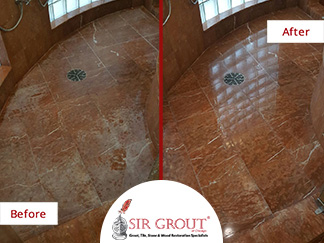 Before and After Picture of a Stone Polishing for a Marble Shower in Burr Ridge, IL