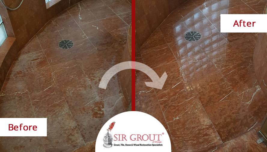 Before and After Picture of a Stone Polishing Service on a Marble Shower in Burr Ridge, Illinois
