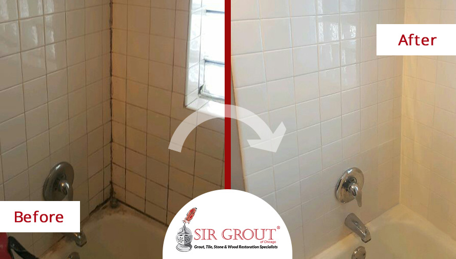 Before and After Picture of Grout Cleaning Job on a Tile Bathroom in Lakeview, IL