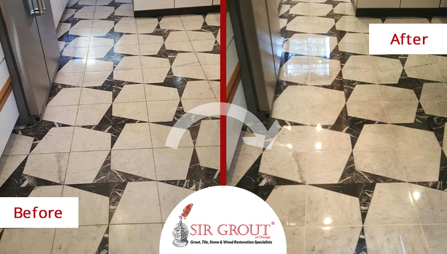 Before And After Picture Of A Marble Stone Polishing Service In Chicago Il