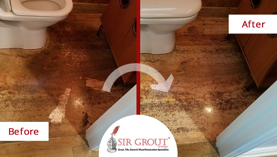 Before and After Picture of a Floor Stone Polishing Service in Chicago