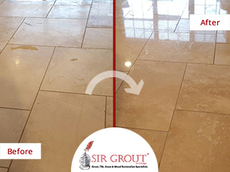 Before and After Picture of a Travertine Floor Honing and Polishing Service in Chicago