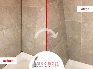 Before and After Picture ofa Shower's Grimmy, Dirty Grout Lines in Lakeview, IL