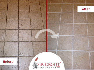 Before and after of Cleaning a Marble Floor Kitchen in Wrigleyville, Illinois