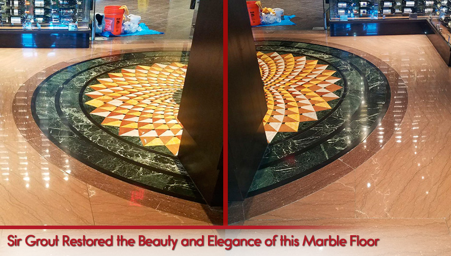 Before and After Picture of a Floor Stone Polishing in Chicago, IL