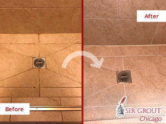 Before and after of This Natural Stone Shower That Was Totally Renewed after a Grout Sealing in Northbrook, Il