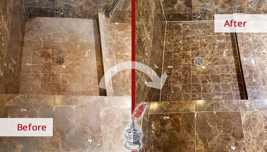 Thanks to a Stone Cleaning Job in Lakeview, Il, This Shower Completely Regained Its Shiny Appearance