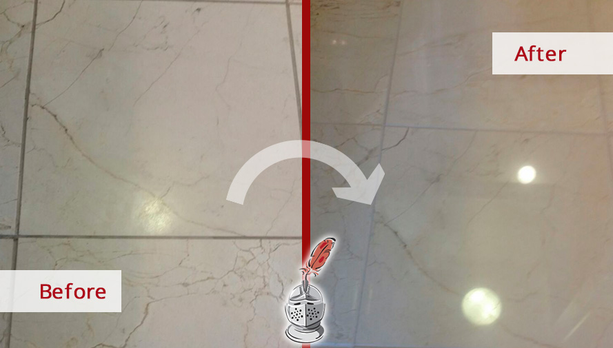 Before and after Picture of This High-Quality Job Done in Chicago, Il, to Restore the Shine on These Marble Surfaces