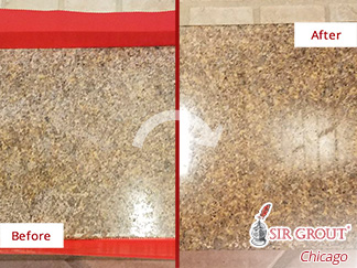 Before and after Picture of This Stone Honing Job That Brought This Granite Shower Threshold Back to Life in Chicago, IL