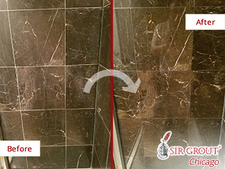 Before and after Picture of This Shower That Is Now Spotless after a Stone Honing Job Done in Chicago, IL