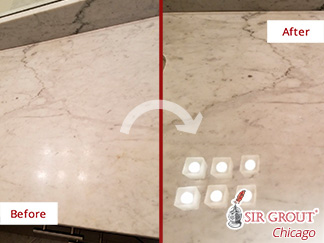 Before and after Picture of This Stone Polishing Job in Chicago to Restore This Vanity Tops
