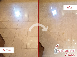 Before and after Picture of This Floor Transformation after a Grout Cleaning Job in Chicago