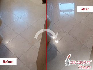Before and after Picture of This Stone Polishing Service Done to This Bathroom Floor in Chicago