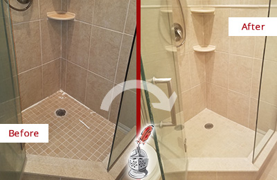 Before and After Picture of a Grout Recaulking on a Porcelain Tile Shower