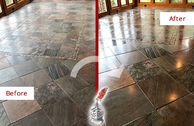 Before and After Picture of Dull Lobby Slate Floor Cleaned and Sealed to Remove Etches and Scratches