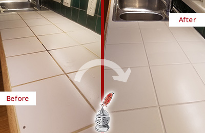Before and After of Grout Sealing on a Kitchen Countertop