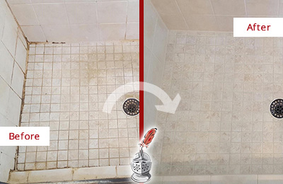 Before and After Picture of a Aurora Shower Caulked to Fix Cracks