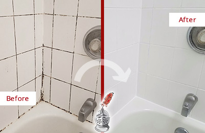 Before and After Picture of a Bloomingdale Tub Caulked to Remove and Avoid Mold
