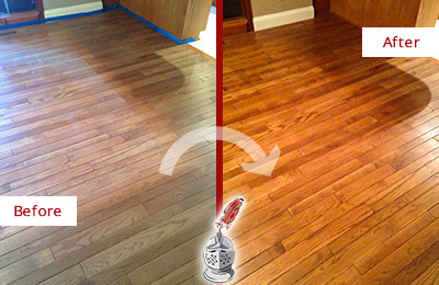 Before and After Picture of a Rosemont Wood Sandless Refinishing Service on a Dull Floor to Recover Its Sheen