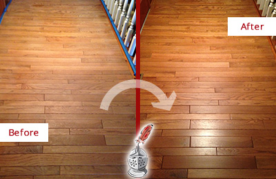 Before and After Picture of a Rosemont Wood Sandless Refinishing Service on a Dull Hallway