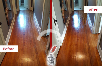 Before and After Picture of a Round Lake Beach Wood Sandless Refinishing Service on a Floor to Eliminate Scratches